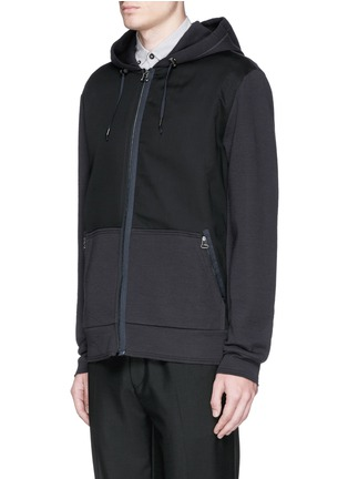 Front View - Click To Enlarge - Lanvin - Twill front bonded jersey zip hoodie