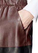 Colourblock leather skirt