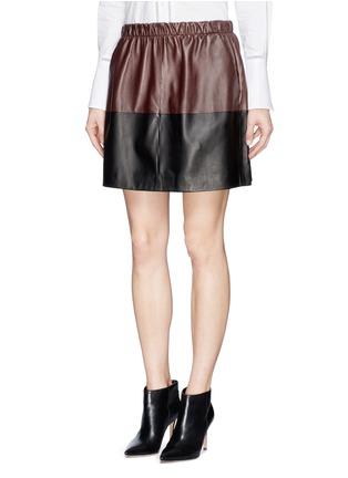 正面 -点击放大 - VINCE - Colourblock leather skirt