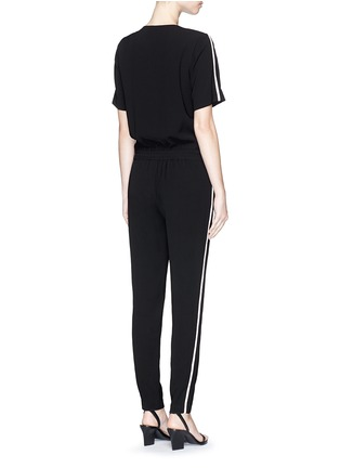 Back View - Click To Enlarge - Vince - Contrast satin trim crepe jumpsuit