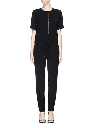 Main View - Click To Enlarge - Vince - Contrast satin trim crepe jumpsuit