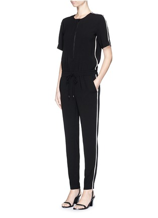Figure View - Click To Enlarge - Vince - Contrast satin trim crepe jumpsuit