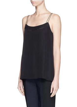 Vince - Ladder stitch trim silk chiffon camisole