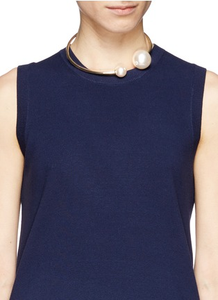 Figure View - Click To Enlarge - Kenneth Jay Lane - Large pearl choker necklace