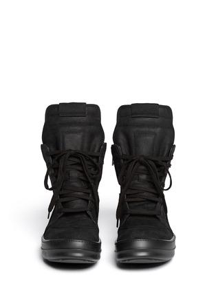 Figure View - Click To Enlarge - Rick Owens - Geobasket suede high-top sneakers