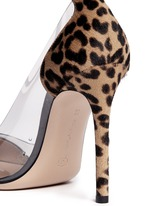 Clear PVC leopard pony hair pumps