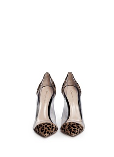 GIANVITO ROSSI Clear PVC leopard pony hair pumps