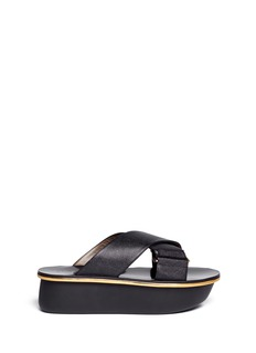 MARNITextured cross strap leather flatform sandals
