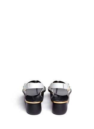 Back View - Click To Enlarge - Marni - Textured leather thong flatform sandals
