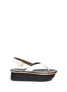 MARNI Textured leather thong flatform sandals
