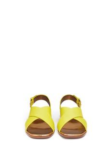 MARNITextured cross strap leather sandals
