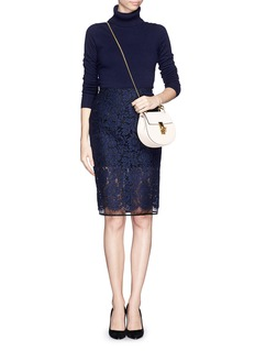 MSGM Lace overlay gauze pencil skirt