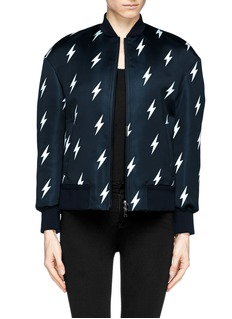 NEIL BARRETT Lightning bolt print satin bomber jacket
