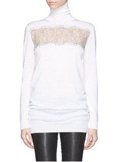THAKOON Lace panel wool turtleneck top