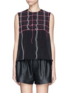 KENZO Squiggle grid embroidery blouse