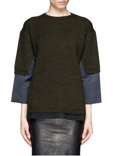NO. 21 Lace hem satin trim wool-alpaca sweater