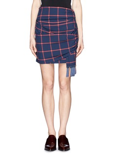 THAKOON ADDITION Windowpane check print tassel scarf wrap skirt