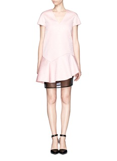 MSGM Embossed neoprene dress with gauze layer
