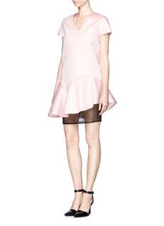MSGMEmbossed neoprene dress with gauze layer