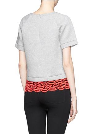 Back View - Click To Enlarge - MSGM - Crochet lip hem cropped sweatshirt