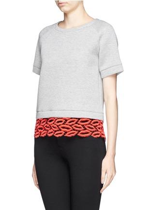 Front View - Click To Enlarge - MSGM - Crochet lip hem cropped sweatshirt