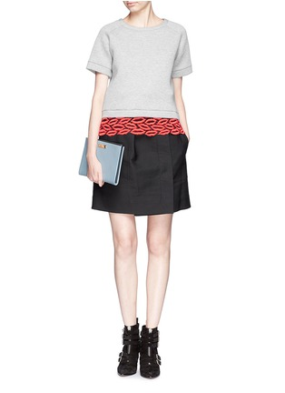 Figure View - Click To Enlarge - MSGM - Crochet lip hem cropped sweatshirt
