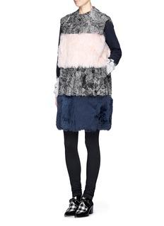 MSGMSleeveless wool-fur colourblock coat