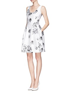 PRABAL GURUNG Rose jacquard molded seam dress