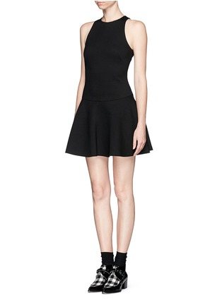 Front View - Click To Enlarge - MSGM - Drop waist flare dress