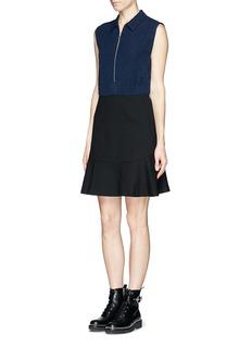 SANDRO'Raison' zip front crepe and jersey combo dress