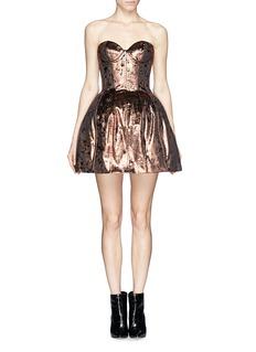 MAJE'Galega' lamé velvet bustier dress