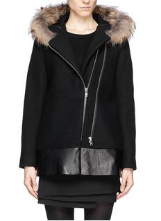 SANDRO'Manoli' raccoon fur trim leather panel wool coat
