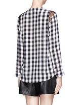 'Clarisse' silk check lace trim blouse