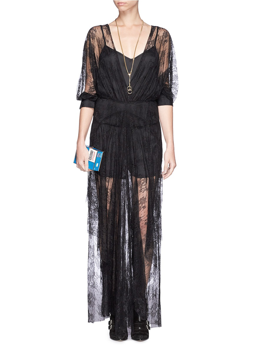 Maje Gabriela Floral Lace Maxi Dress On Sale Black Casual Dresses Womenswear Lane