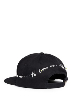 Piers Atkinson 'He Loves Me' beaded slogan baseball cap