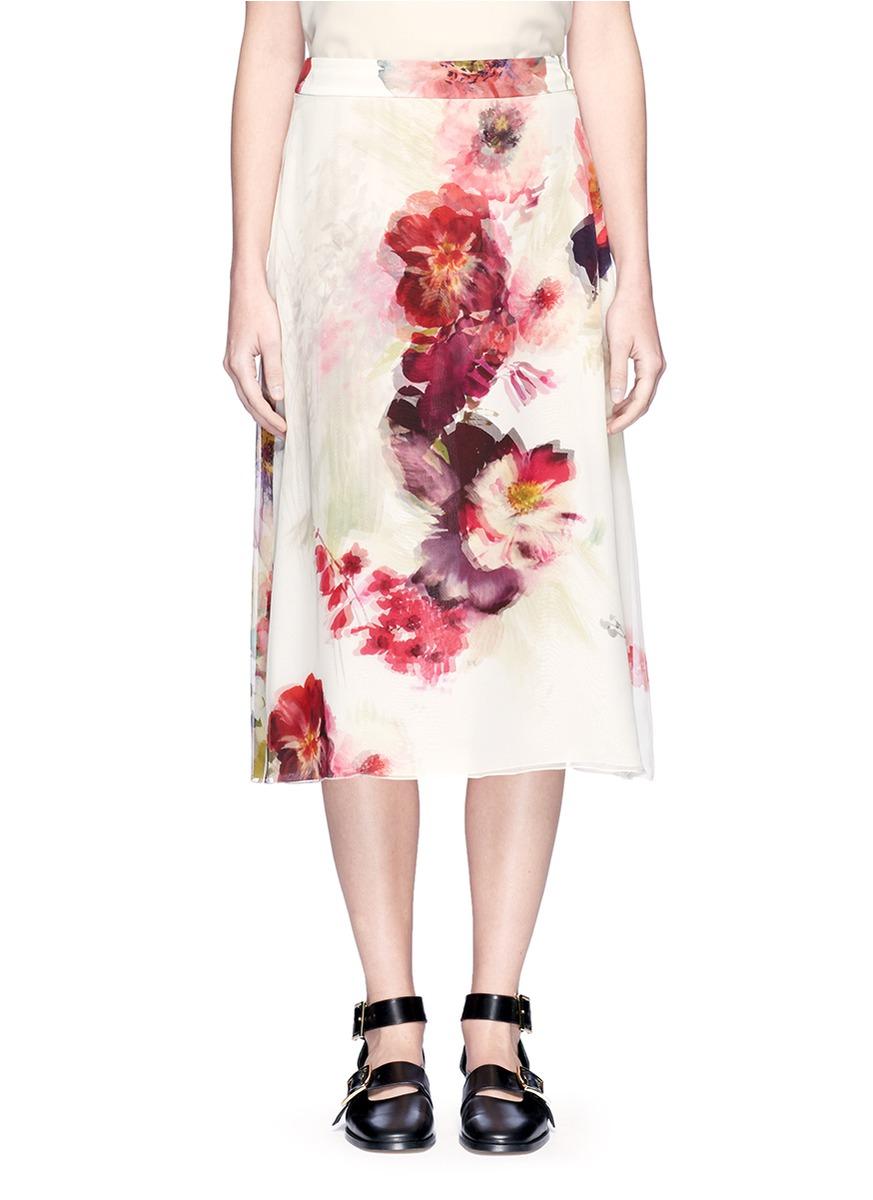 Watercolour floral print silk midi skirt by Lanvin