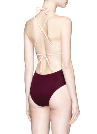Back View - Click To Enlarge - Solid & Striped - 'Alexandra' cross back one-piece swimsuit