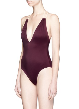Figure View - Click To Enlarge - Solid & Striped - 'Alexandra' cross back one-piece swimsuit