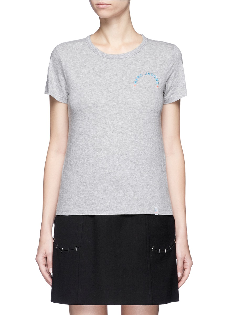 marc jacobs female logo embroidered classic tshirt