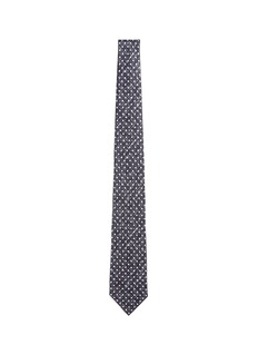 ISAIA Crosshatch polka dot print silk tie
