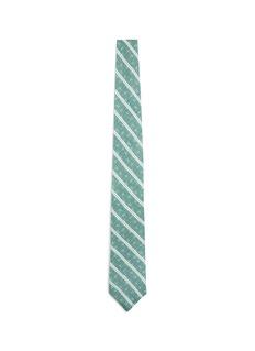ISAIALogo print stripe linen tie