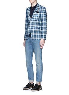 ISAIA'Cortina' check plaid silk blazer