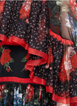Detail View - Click To Enlarge - Alexander McQueen - Floral print tiered chiffon cape dress