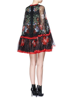 Back View - Click To Enlarge - Alexander McQueen - Floral print tiered chiffon cape dress