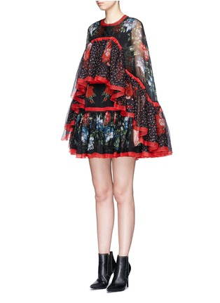 Front View - Click To Enlarge - Alexander McQueen - Floral print tiered chiffon cape dress