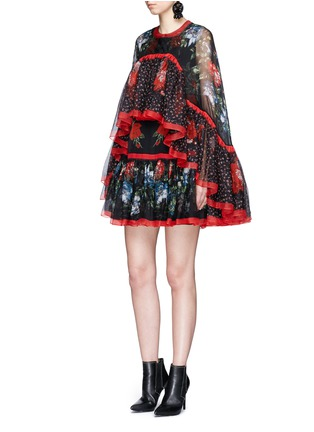 Figure View - Click To Enlarge - Alexander McQueen - Floral print tiered chiffon cape dress