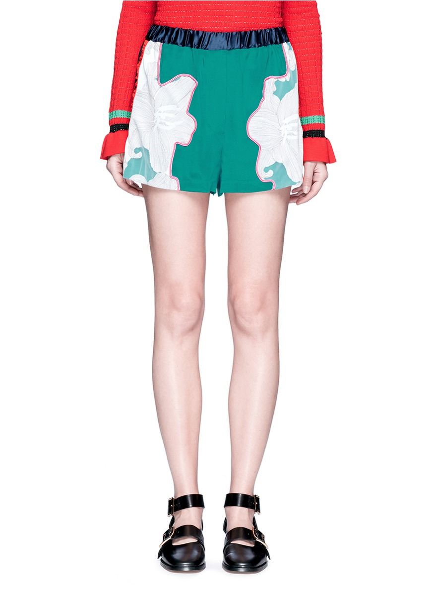 Floral surf silk shorts by 3.1 Phillip Lim