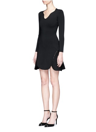 Front View - Click To Enlarge - Alexander Wang  - Laced cutout knit dress