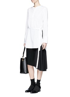 MO&CO. EDITION 10 Plissé underlay felted wool blend asymmetric skirt