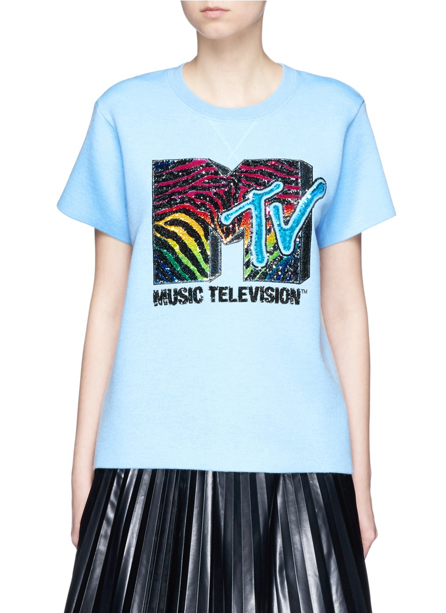 marc jacobs female x mtv sequin logo embroidered bonded tshirt